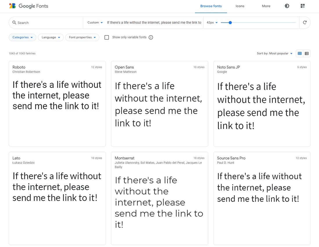 Google Fonts es una colección de fuentes web de moda