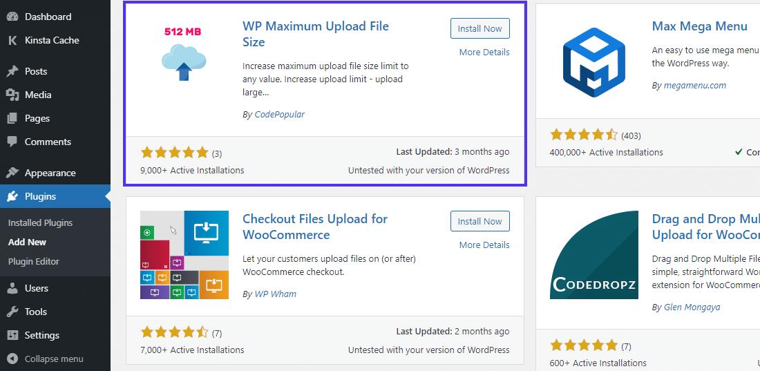 WP Maximum Upload File Size plugin