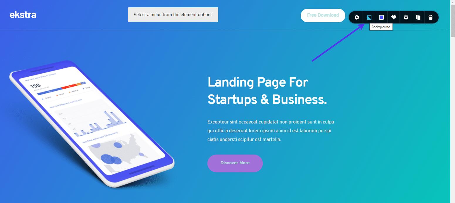 WordPress background image button