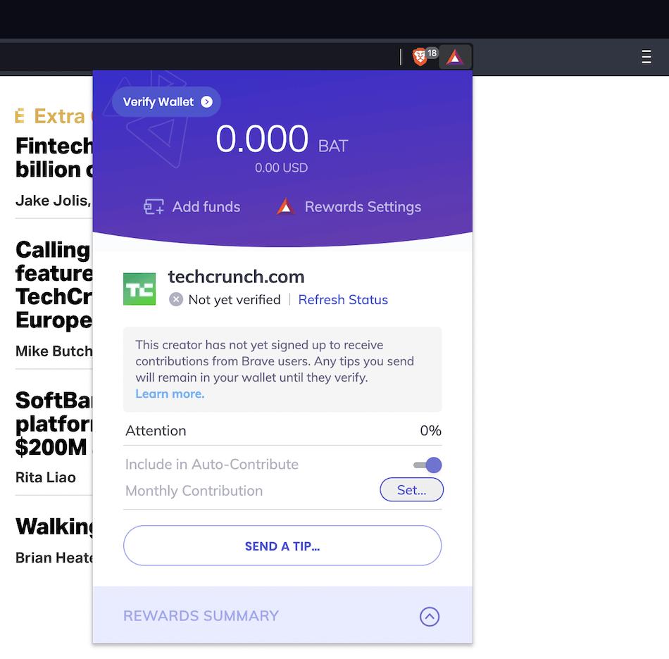 TechCrunch ne fait pas partie du programme Brave Rewards, qui s'affiche dans le navigateur.