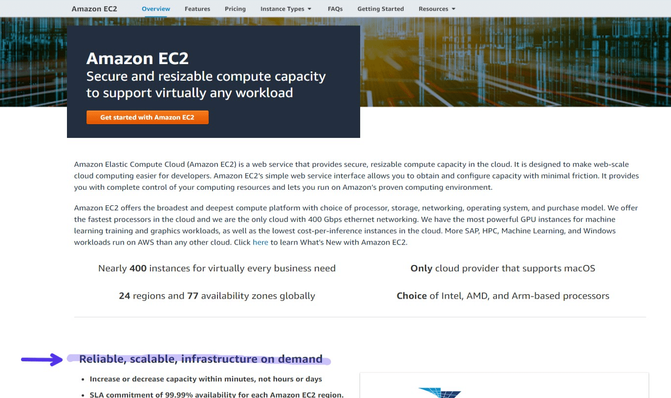 Amazon EC2, screenshot