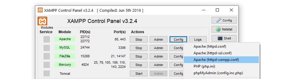 Ouverture du fichier httpd-xampp.conf.
