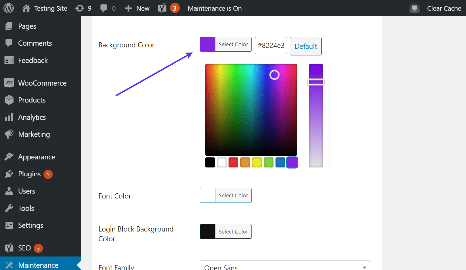 Open the background color field