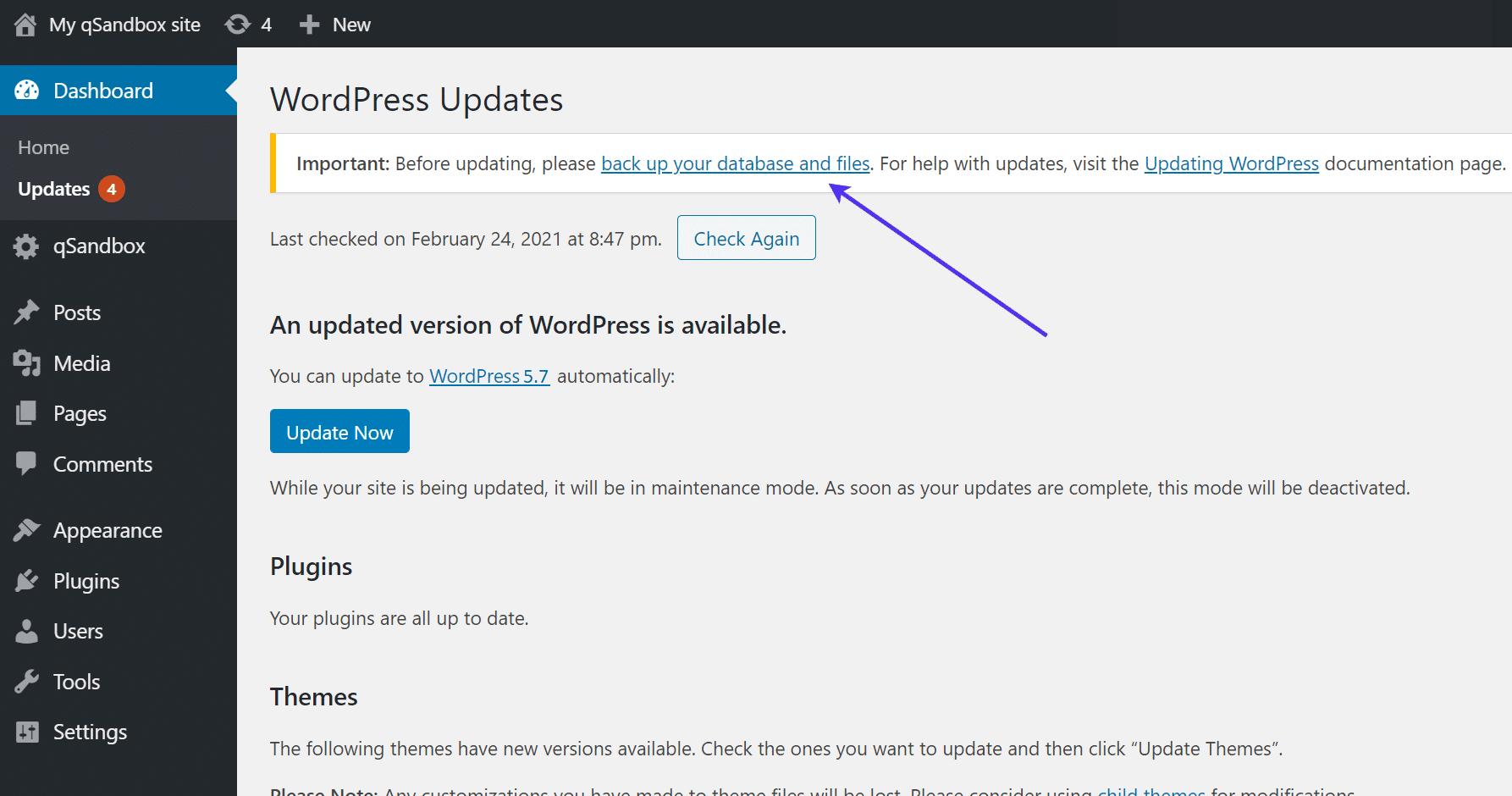 Faça um backup do seu site antes de atualizá-lo