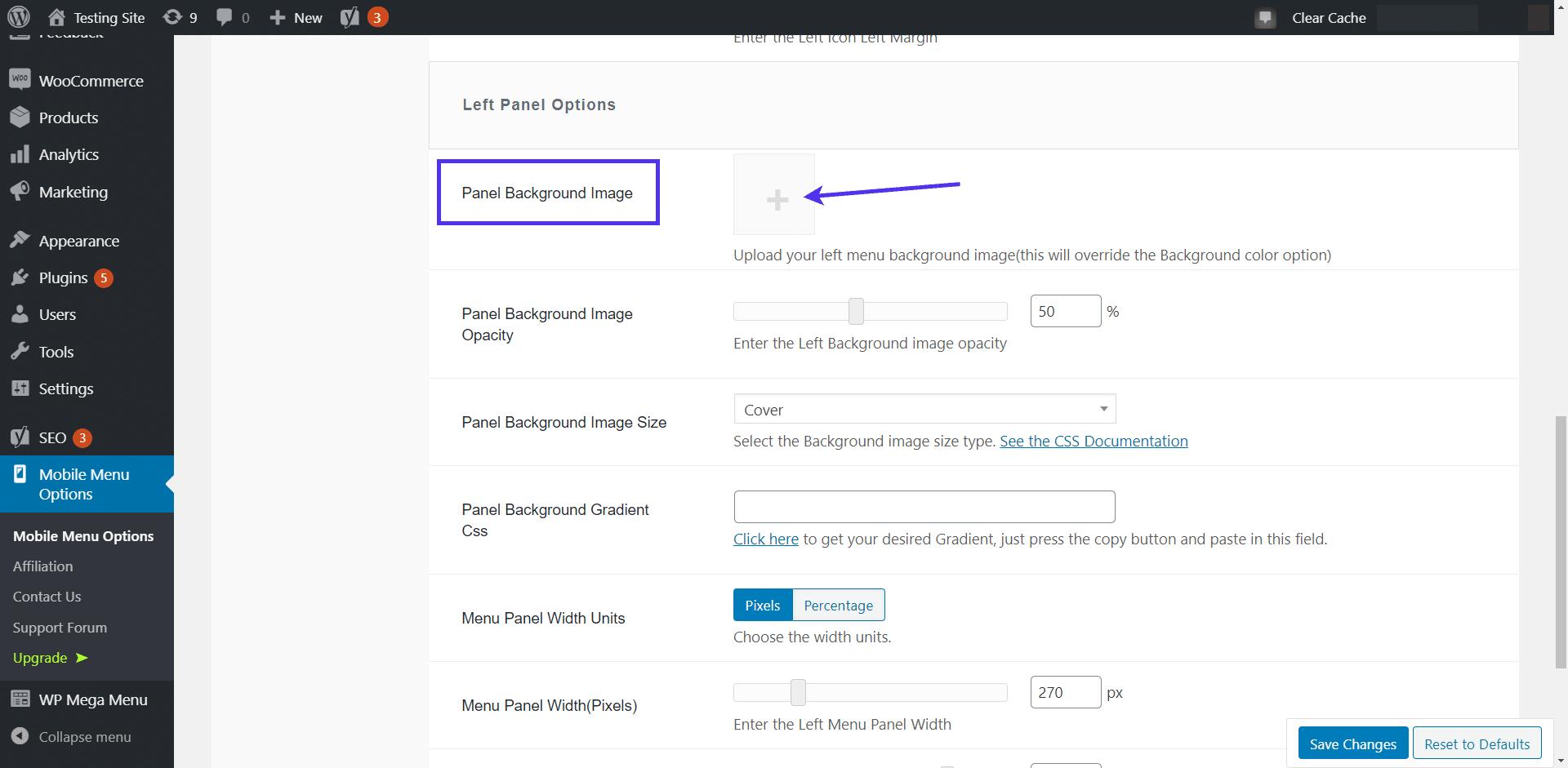 Adding a mobile menu background image