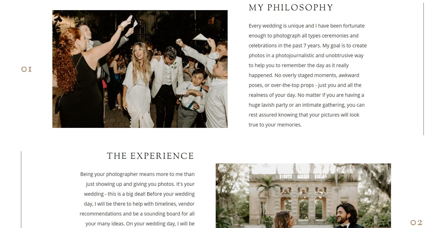 "Photography site ""About"" page example"