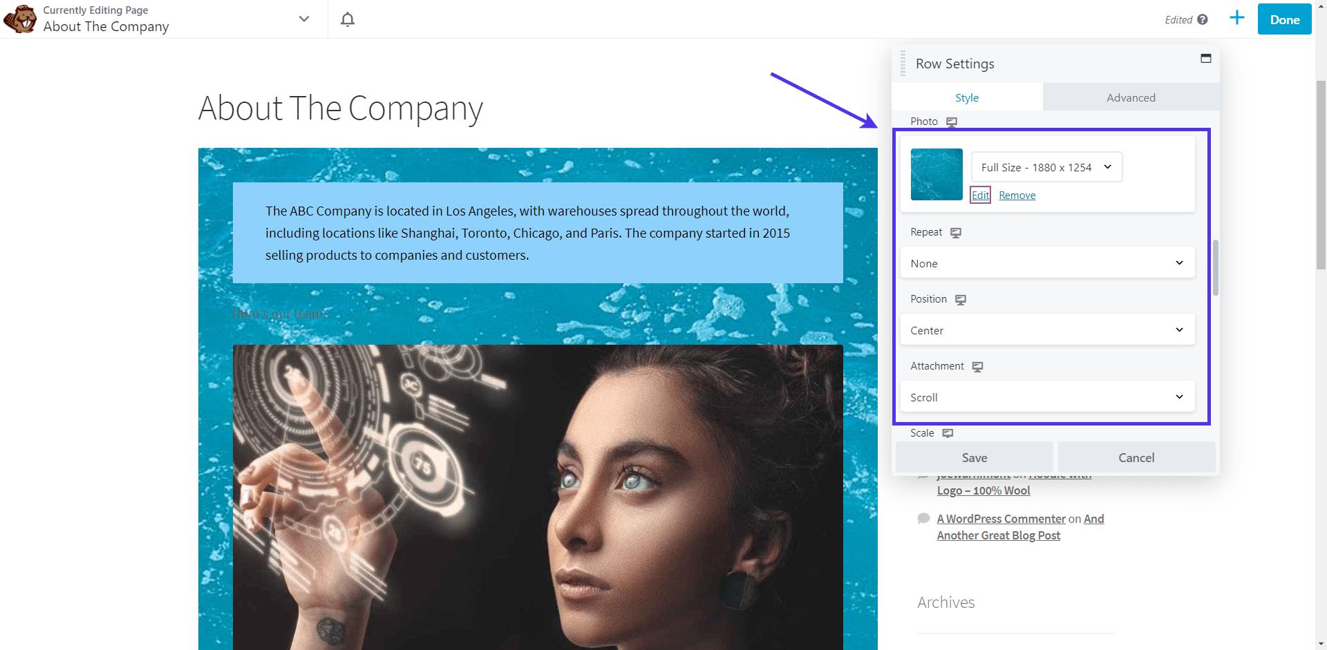 Set the background image size