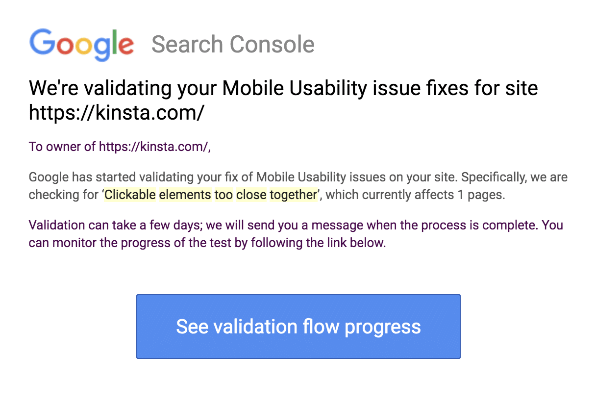Le message de mise à jour de la validation de la Google Search Console