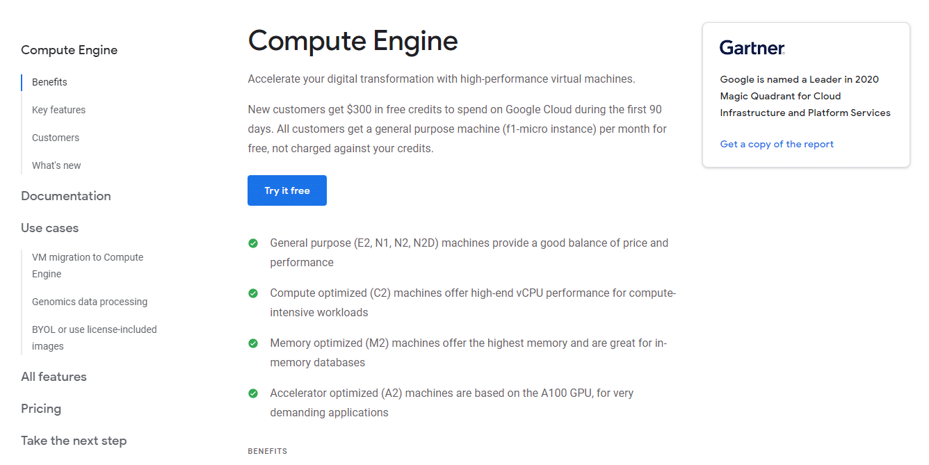 Google Compute Engine, screenshot