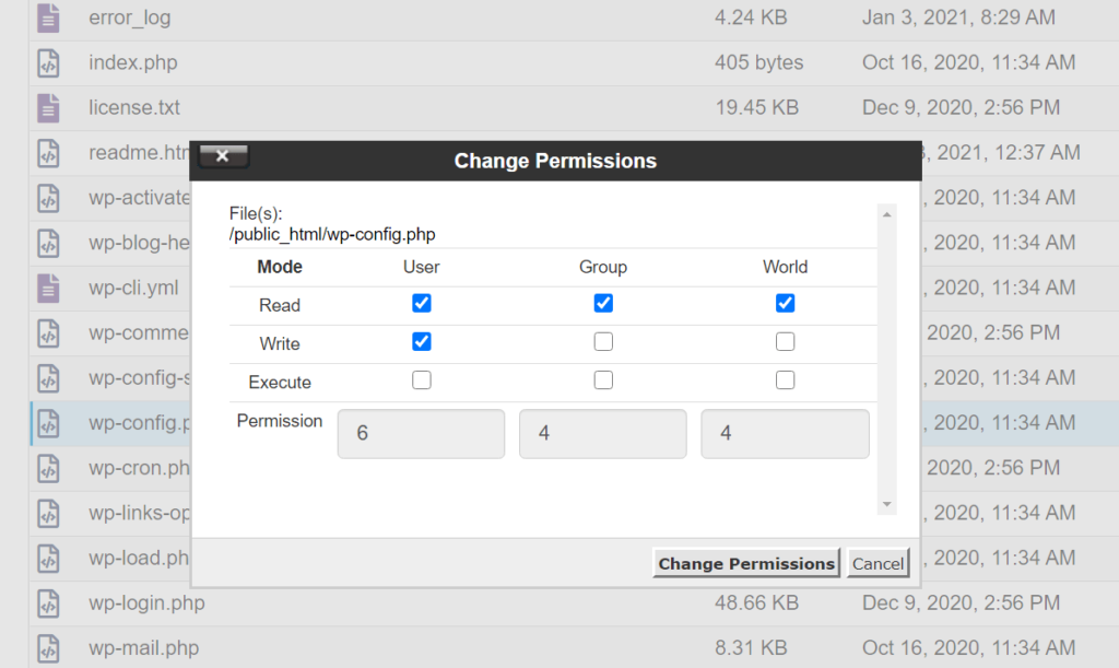 How to enter new file permissions using cPanel