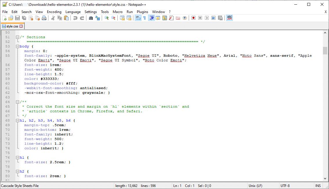 CSS code in de style.css stylesheet.