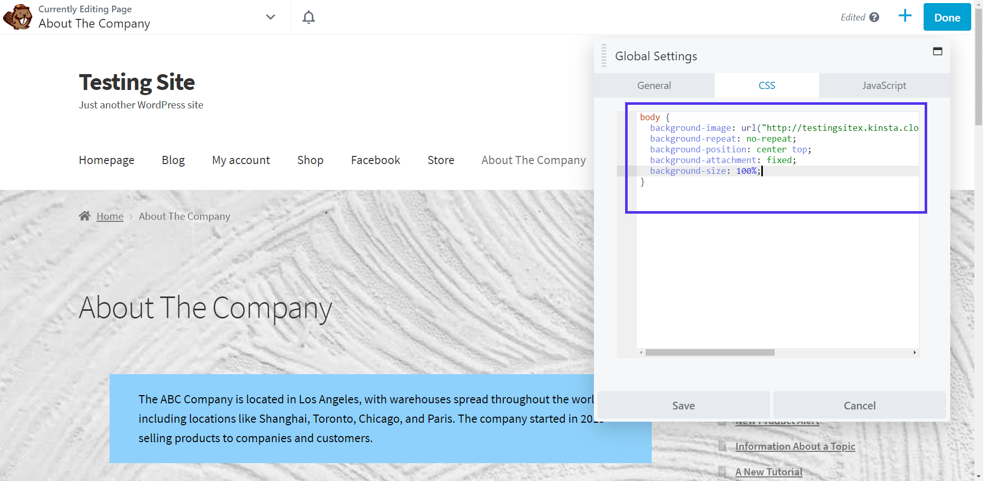 Go to the CSS tab