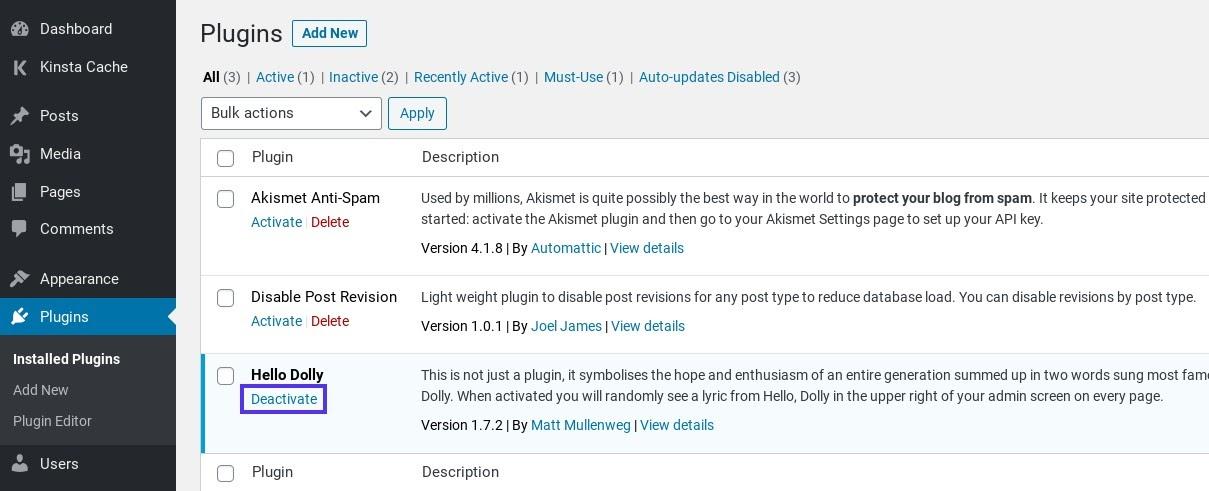 Désactiver une extension WordPress.
