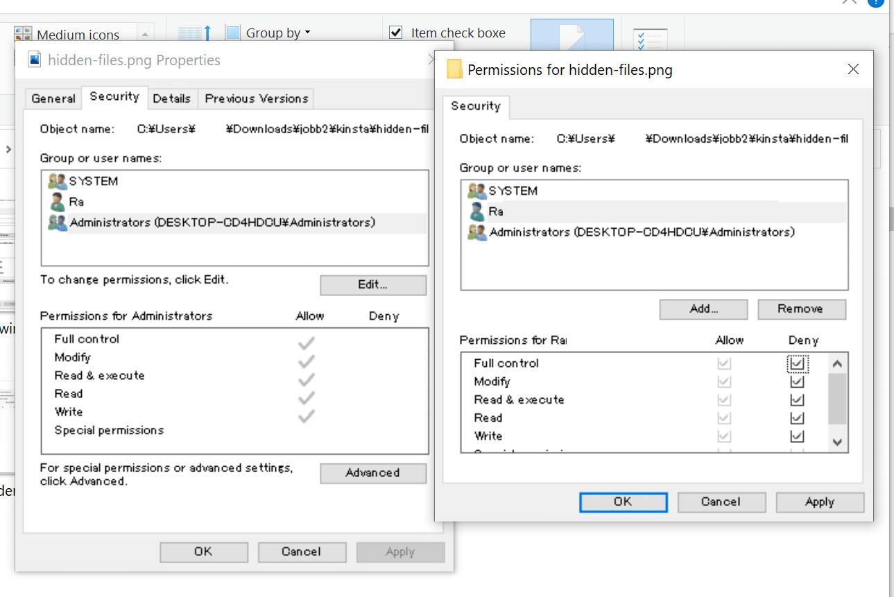 Finestra di dialogo modale sui permessi dei file di Windows