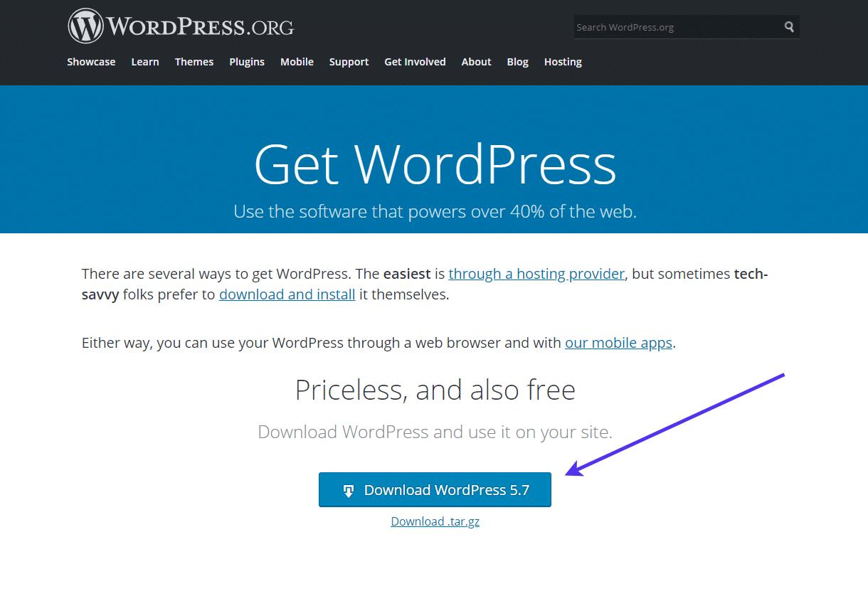 Downloading the latest WordPress version.