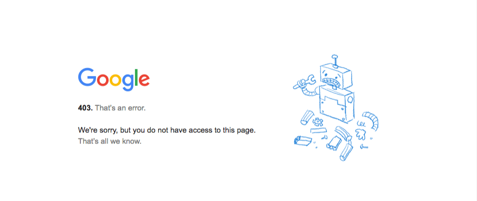 A regular error 403 message from Google Chrome.