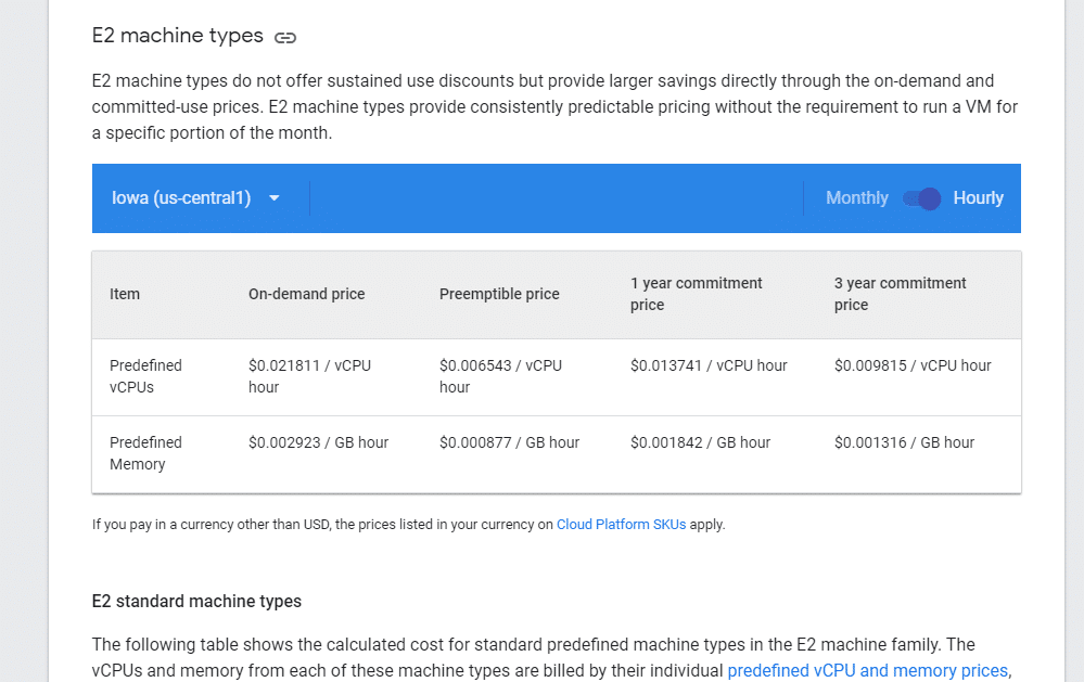 Google Cloud Engine prices