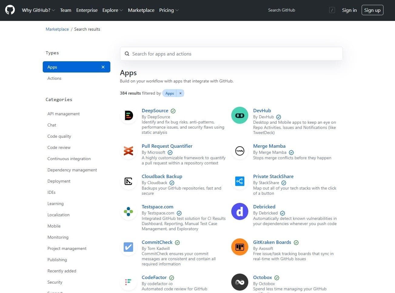 GitHub marketplace.