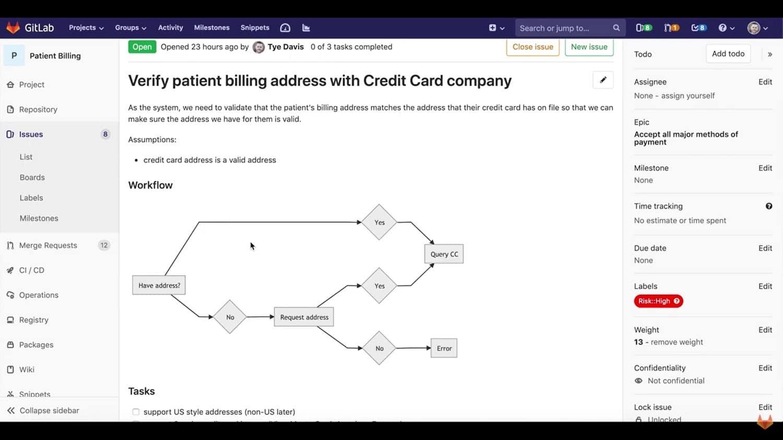 GitLab project management tools, screenshot.