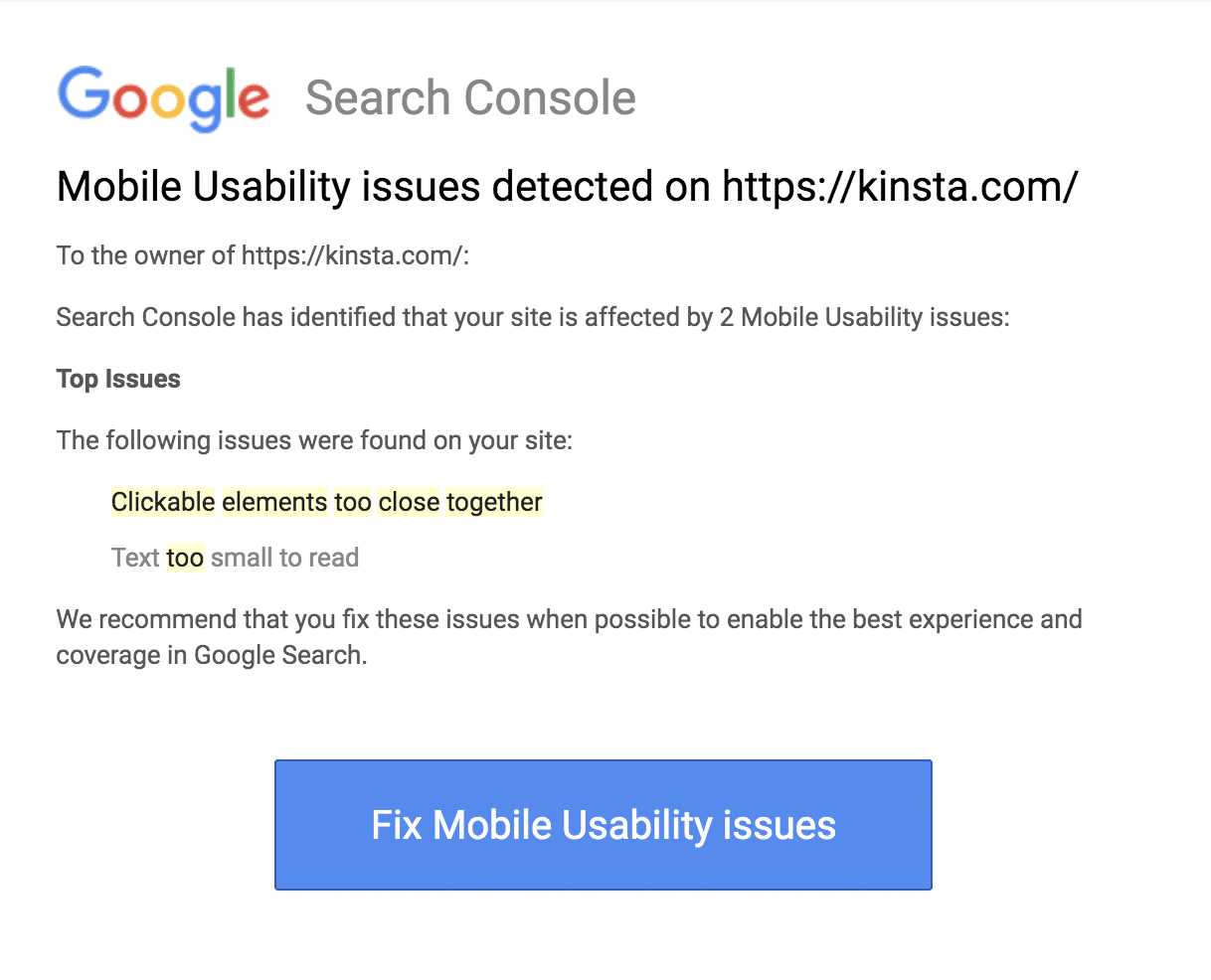 A mobile usability issues report from Google Search Console.