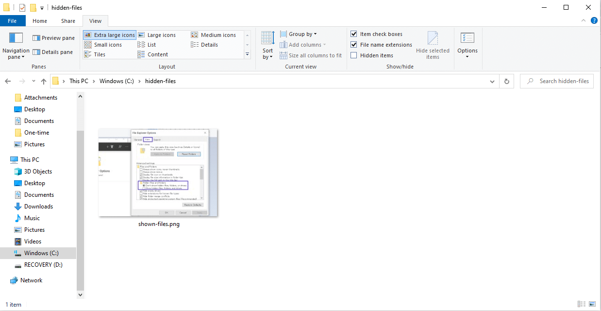 La tipica vista del File Explorer