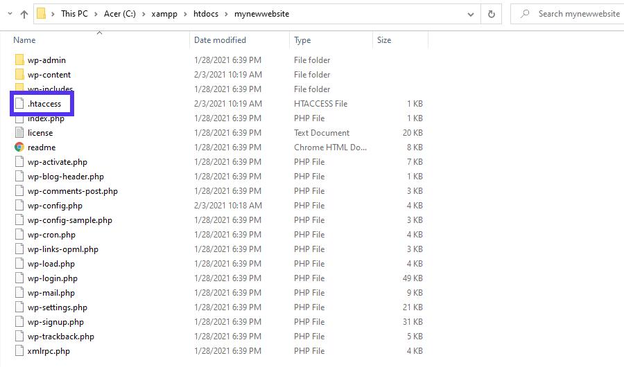 L'emplacement du fichier .htaccess.