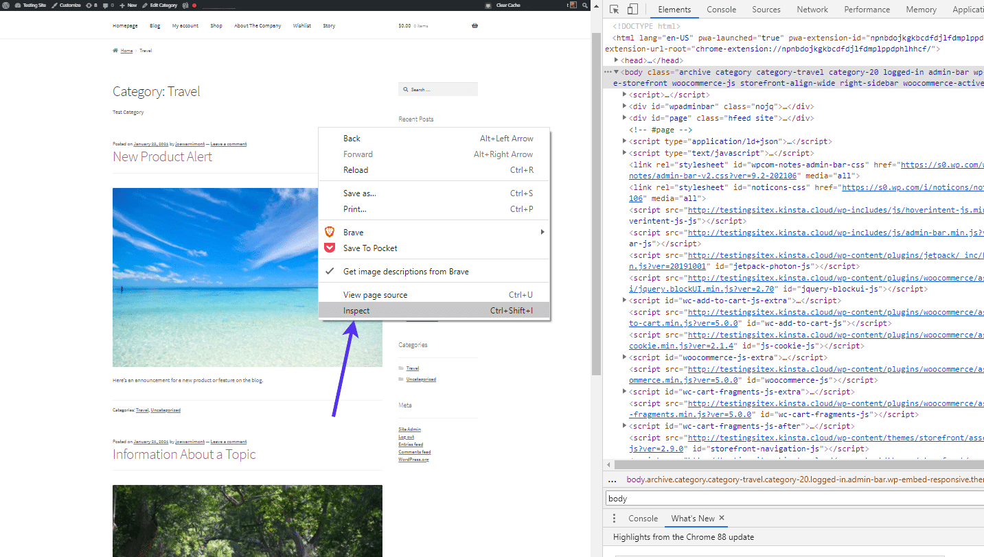 Right click on the webpage and select 'Inspect'