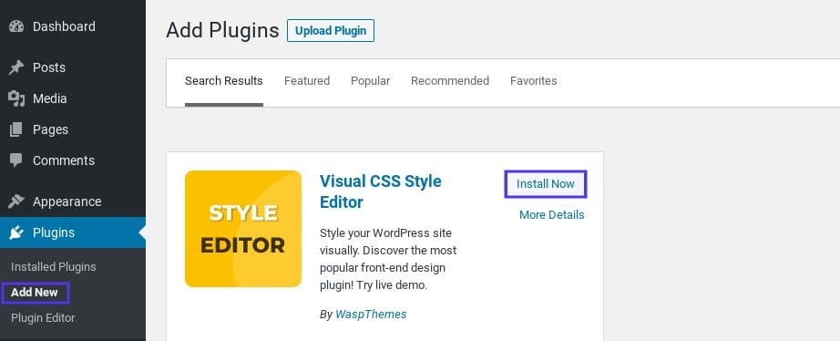 L'option pour installer l'extension YellowPencil dans WordPress