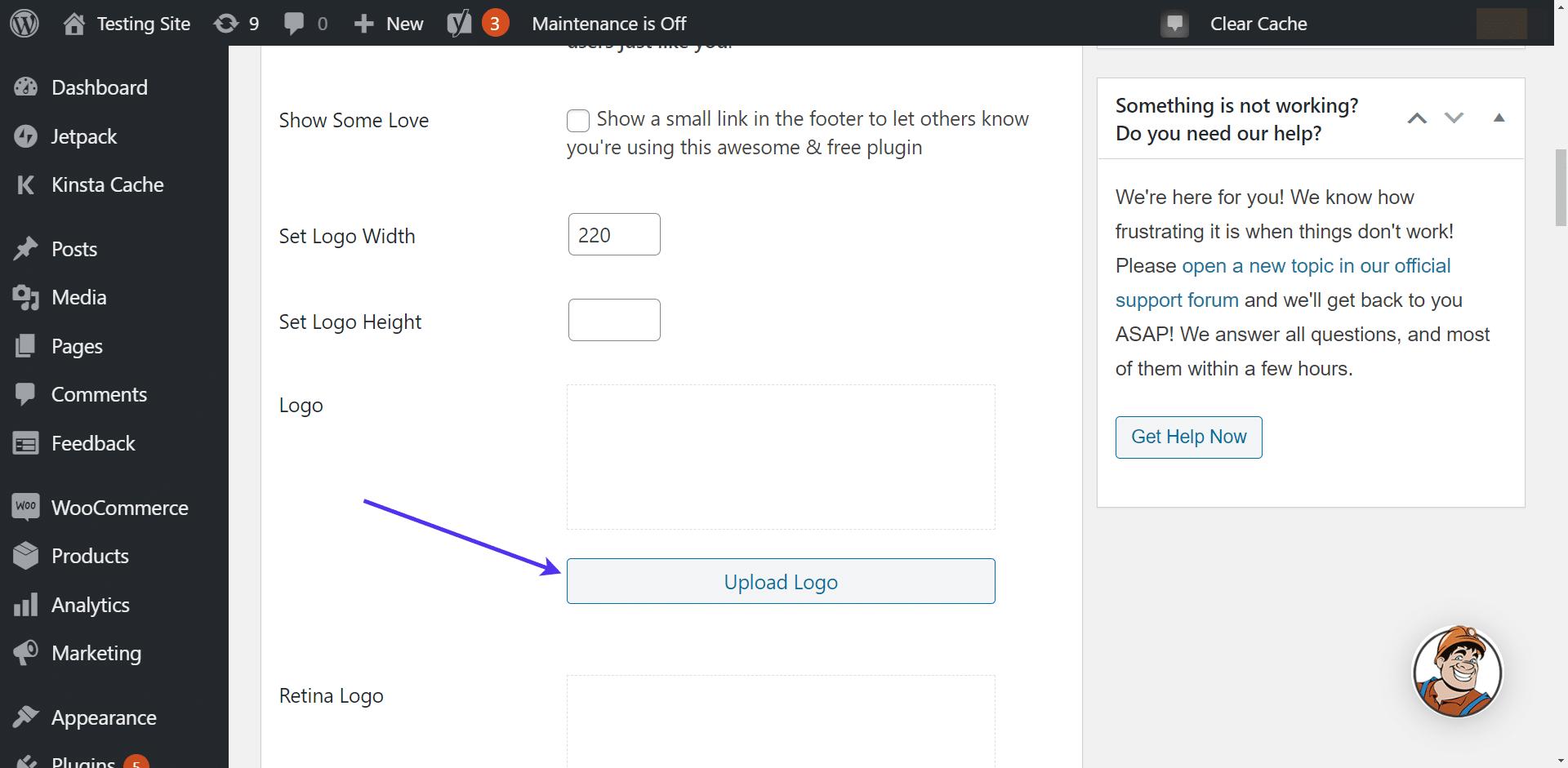 'Upload Logo' button