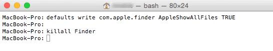 Mostrare i file nascosti nel Terminale del Mac