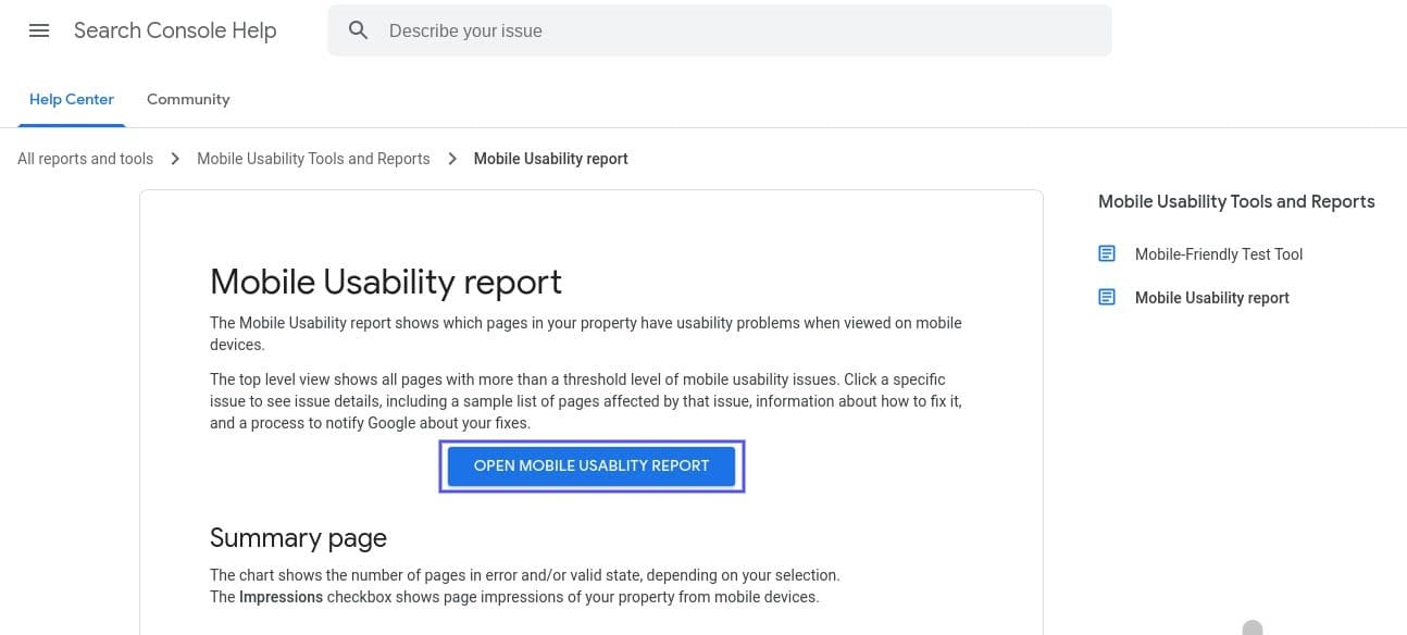 L'outil de rapport sur l'ergonomie mobile de Google Search Console