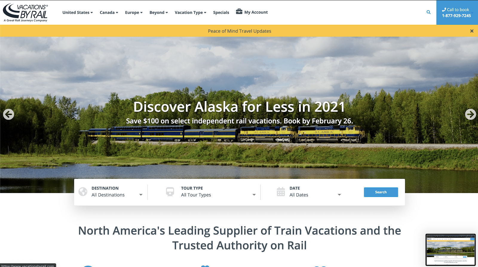 Vacations by Rail usa Laravel.