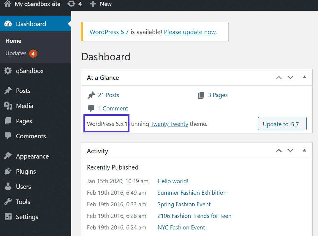 Verificando a antiga versão do WordPress