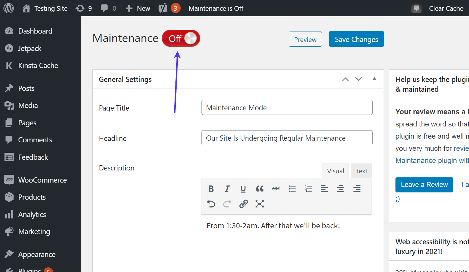 Setting the maintenance page On or Off