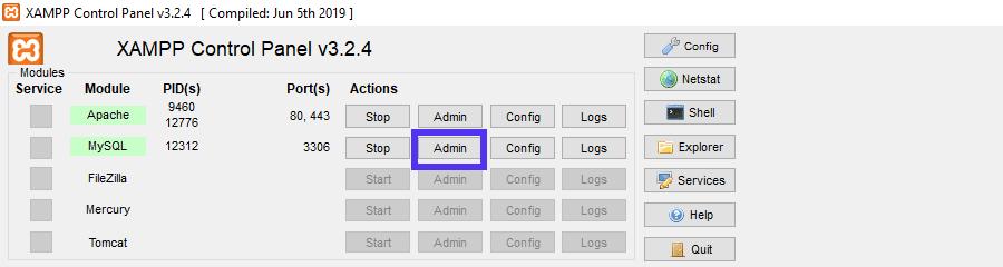 Vous pouvez ouvrir phpMyAdmin à partir du panneau de contrôle XAMPP.