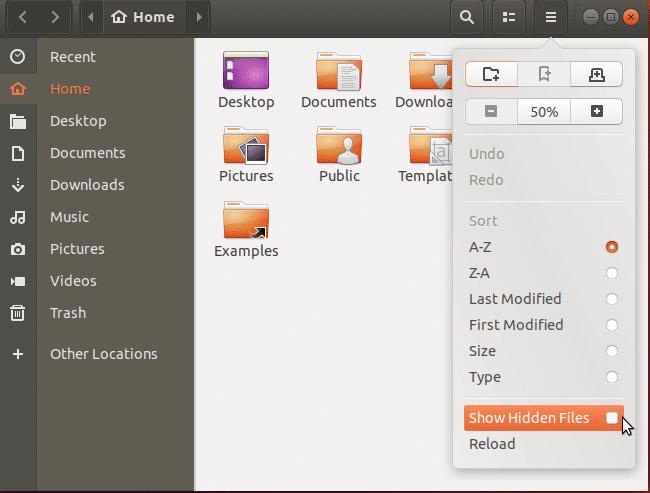Dialogo modale del file explorer di Ubuntu che mostra i file nascosti