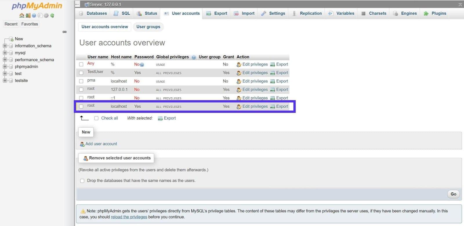 L'utilisateur root dans phpMyAdmin.