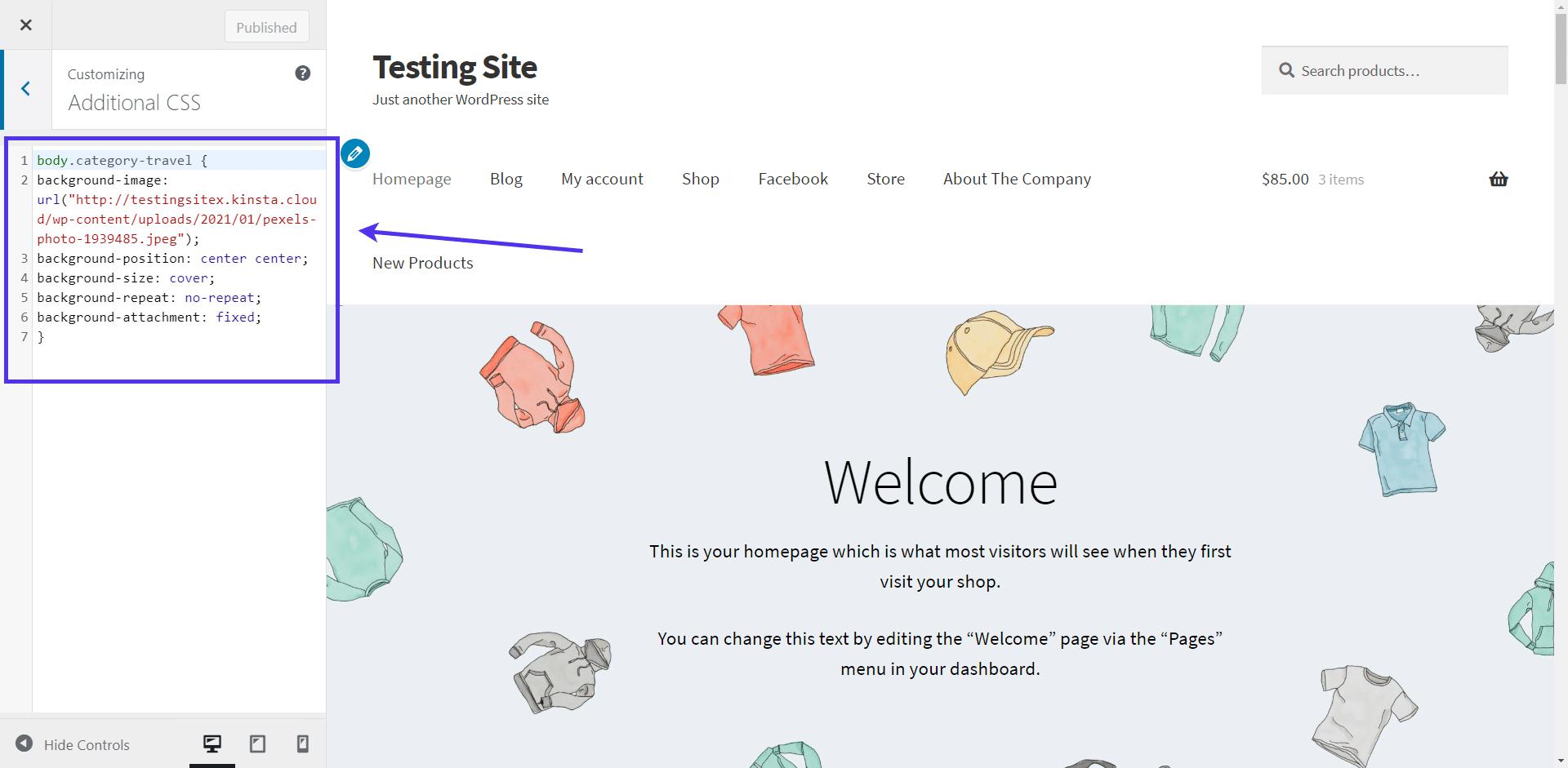 Add the custom coding for WordPress background image