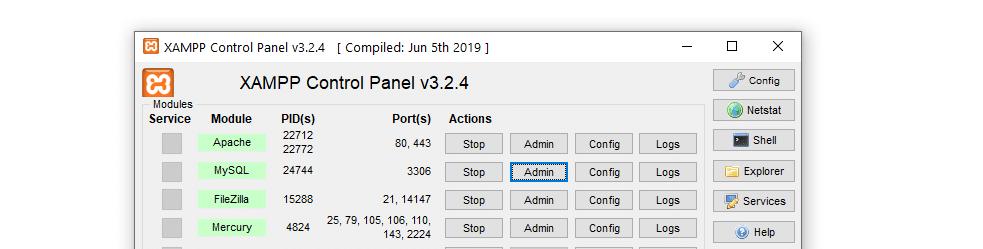 The XAMPP control panel.