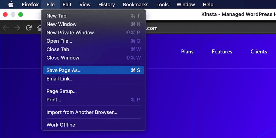 Le menu Fichier de Firefox contient la fonctionnalité dont vous avez besoin pour enregistrer une seule page web.