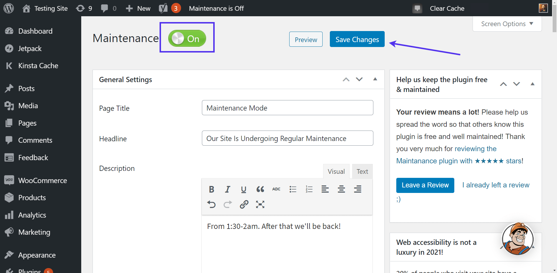 Enabling the maintenance page