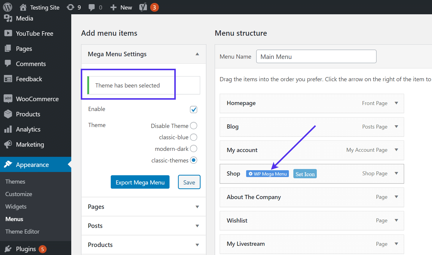 Add the mega menu to your site