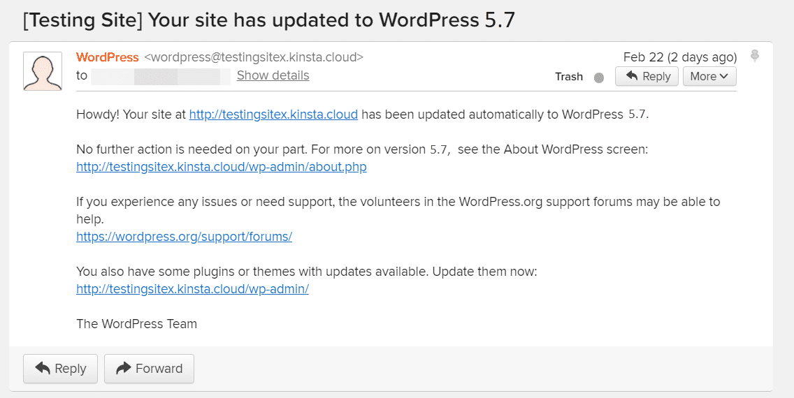 Email for the new WordPress version.