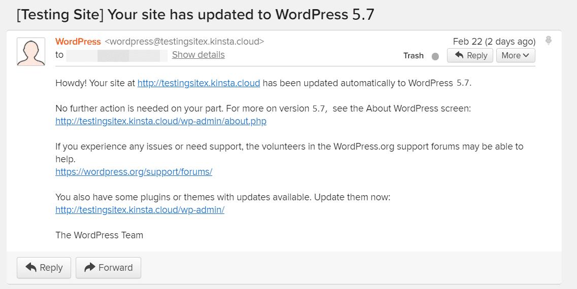 E-mail para a nova versão WordPress