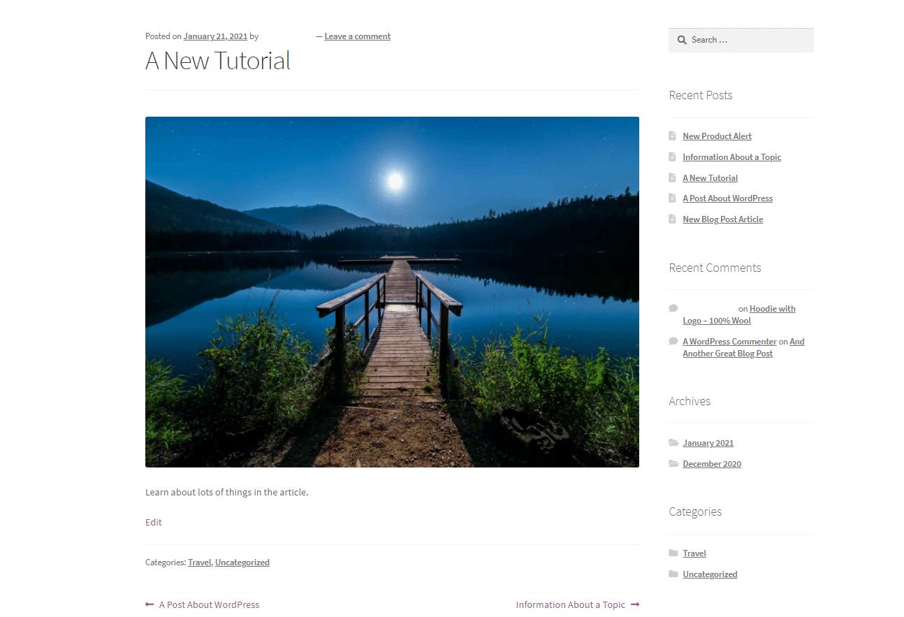 WordPress background image for posts