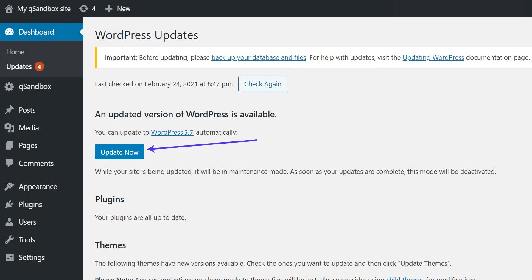 """Clique no botão """"Update Now"""" (Atualizar Agora)."""
