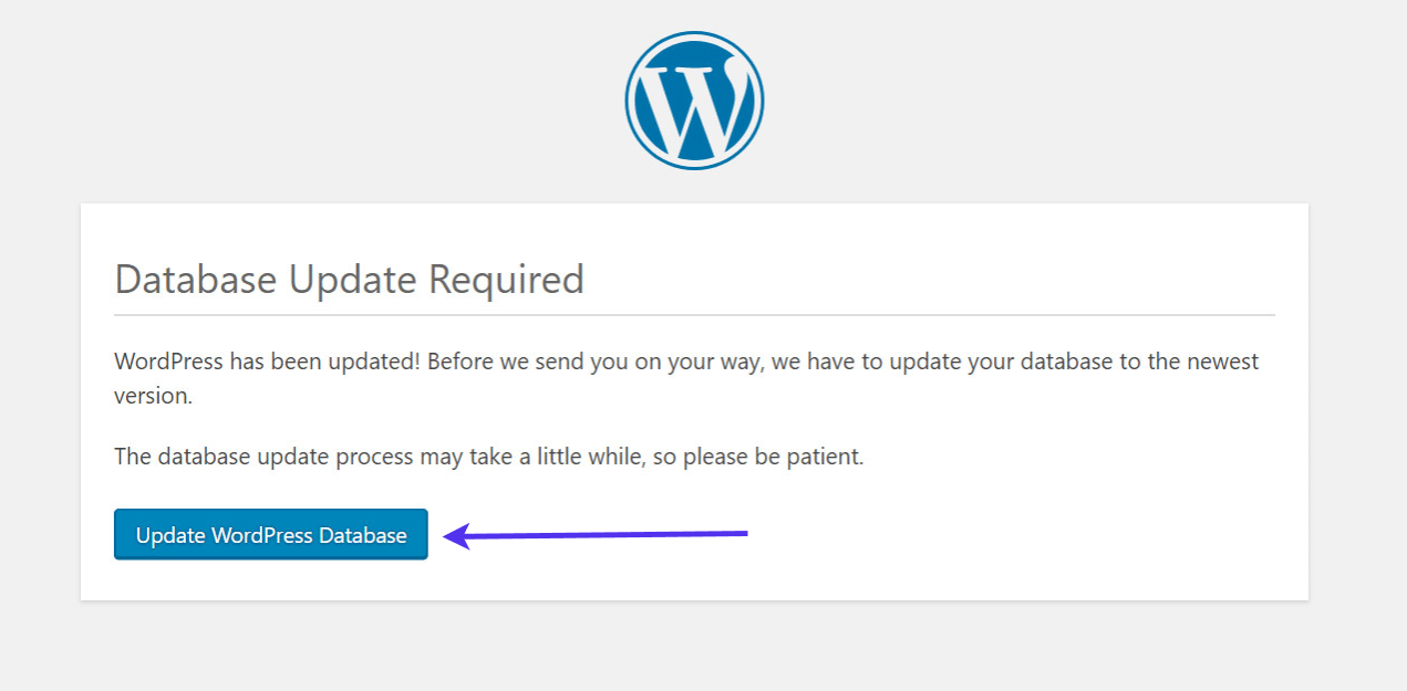 """Clique no botão """"Update WordPress Database"""" (Atualizar banco de dados WordPress)."""