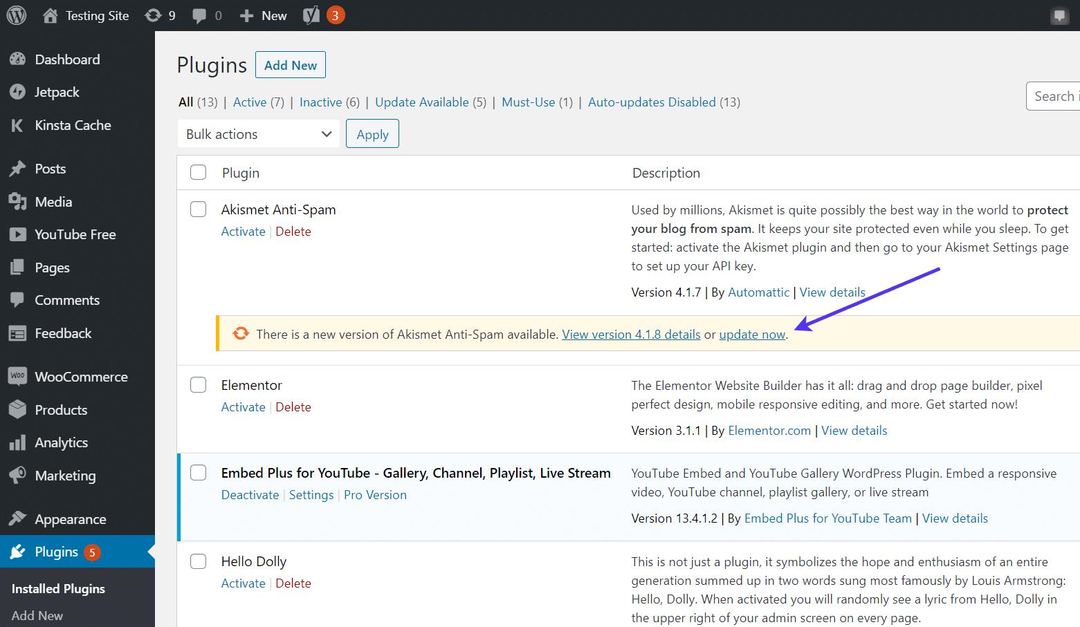 """Clique no link """"atualizar agora"""" para obter um plugin"""