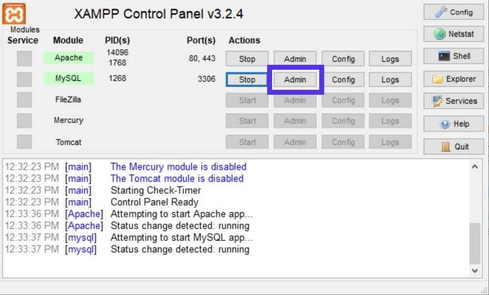 Ouvrez phpMyAdmin dans XAMPP.