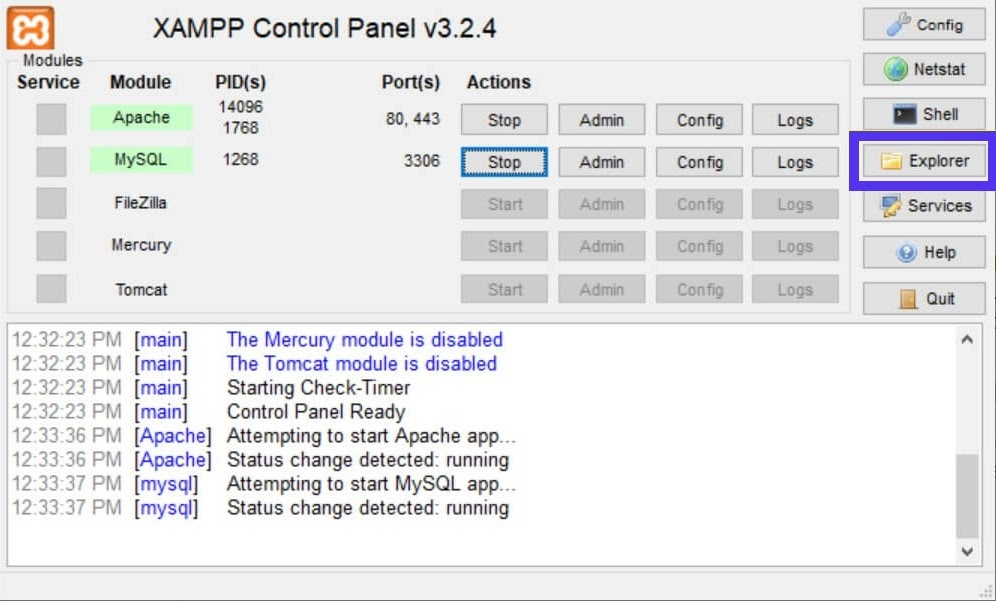 The Explorer button in the XAMPP Control Panel.